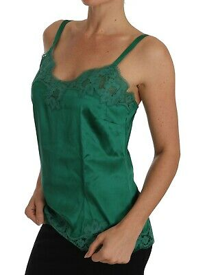 e422e6f021806 NEW $600 DOLCE & GABBANA Chemise Lingerie Top Green Silk Lace Babydoll IT3  ...