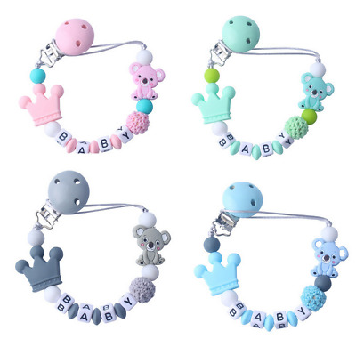 Silicone cute cartoon Crown Koala Baby Teether Pacifier Clips Holder Dummy clip
