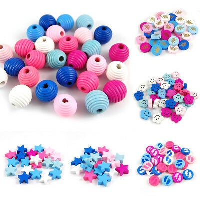 50PCS Wooden Loose Spacer Beads Jewelry Making DIY Craft Bracelet Necklace BCD
