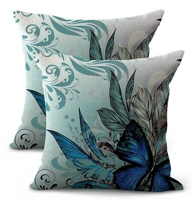 US SELLER- set of 2 art nouveau plants butterfly dining room chair cushion cover