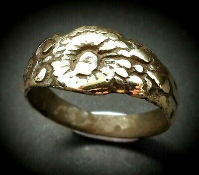 16th - 17th A.D. GENUINE ANCIENT ORNATE YELLOW METAL TUDOR Æ RING - WEARABLE
