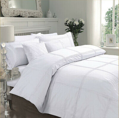 Luxury Hamlet Pleated Duvet Quilt Cover Bedding Set With Pillowcases All Sizes