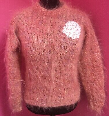 VINTAGE 80s Peach & Pearl Hand Knitted Mohair Jumper - 1980s - Floral Motif