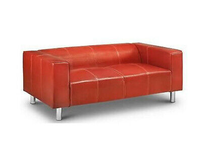 Red Faux Leather 2 Seater Sofa Modern and Stylish Design Solid Structure