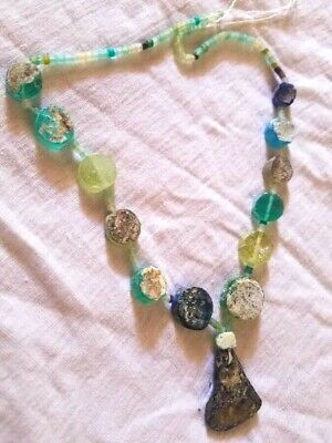 Ancient Old Rare Roman Glass  Beaded Era 18th Century 1 Strand Necklace Pendant