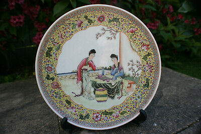 Chinese Porcelain Hand Painted Two Ladies Playing Chess Picture Plate -Marks