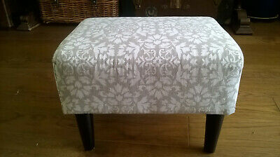 Reupholstered beautiful solid and padded wooden Stool