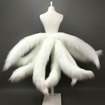 Faux Fur Cosplay Fox Tails Legends Nine-Tailed Prop Halloween Dress Up White