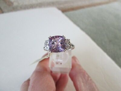 Rose De France Amethyst Platinum over Sterl Silver Ring (Sz 9) TGW 4.45 cts.