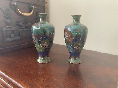 good quality pair of Japanese baluster cloisonné vases c1900.perfect condition.