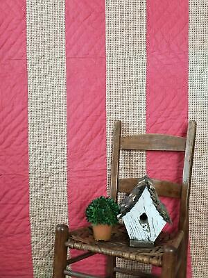 c1880 Antique PA Double Pink Bars & Shirting QUILT Homespun Back 84x67
