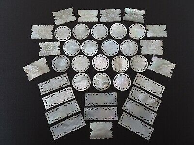 Thirty-Eight Antique Carved Mother Of Pearl Chinese Gaming Counters/Tokens