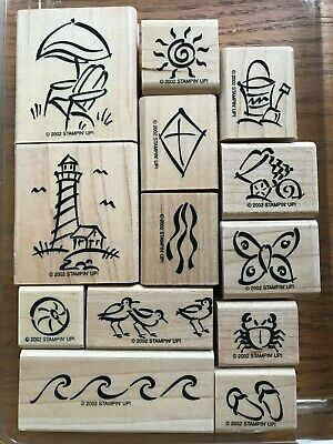 STAMPIN' UP! ON THE BEACH Wood Mounted Rubber Stamp Set of 13 in Case LIGHTHOUSE