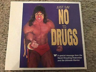 1988 Wwf The Ultimate Warrior Say No To Drugs Fotodruck Ad Wwe Rare