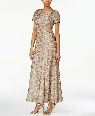 20dbf64a79bd Alex Evenings NEW Size 10 Allover Floral Rosette A-Line Gown Dress Champagne