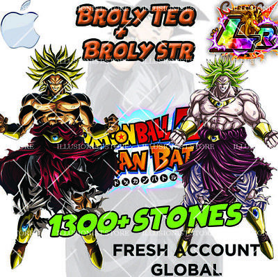iOS - Dokkan Battle - Broly Teq LR + Broly STR LR with 1300+ Stones Fresh Global