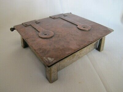 Arts and Crafts Jugenstil Hammered Copper & Silvered Brass Box