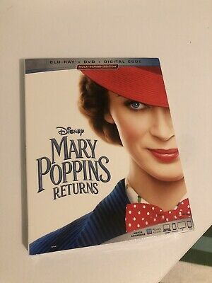 Mary Poppins Returns (Bluray+DVD+Digital HD) Movie 2019 w/Slipcover