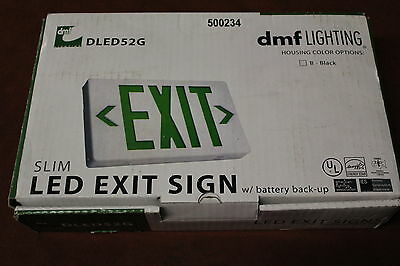 DFM Lighting  DLED52G Slim Green LED Exit Sign With Battery Back-up New
