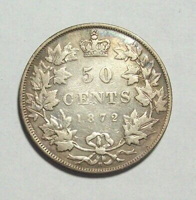 1872 H Canada Canadian Silver Fifty Cents 50--Fine--Nice Reverse--Good Pics
