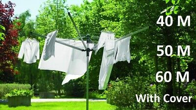 4 Arm 40M 50M 60M Steel Rotary Airer Clothes Dryer Outdoor Laundry Washing Line