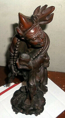Vintage/Antique Chinese Figural Wood Carving-Old Man With Cup