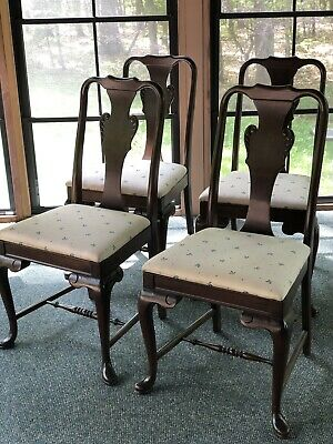 Antique Vintage Queen Anne Style Dining Side Chairs Set Of 4 Dark Wood Wooden