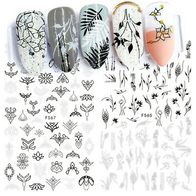 Designs Flowers Leaf Nail Stickers 3D Adhesive Decals Tattoos Tips Full Wraps