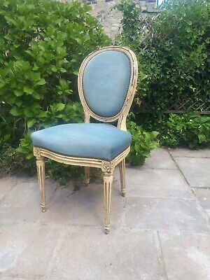 Antique Vintage French Bedroom Chair Upholstered Cream Blue Ivory Fabric Wooden
