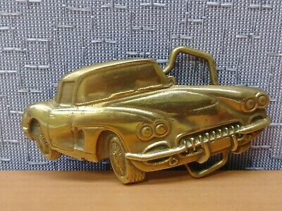 Vintage 1978 Baron Buckle **1958 Corvette** Classic Chevy Solid Brass Buckle