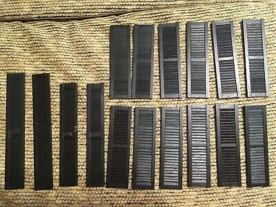 Vintage Dollhouse Painted Black Wood Window Door Shutter Lot Of 16