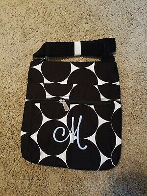 Thirty One Organizing Shoulder Bag Big Dot embroidered w/ M