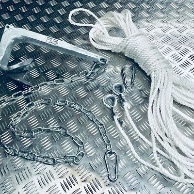 7.5kg bruce style anchor Kit  10 Metres Of  8mm chain 250ft 10mm rope