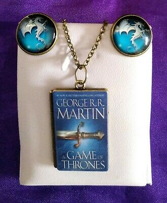 Game of Thrones PENDANT + CUFFLINKS House Targaryen Dragon Book GOT 2 STYLES