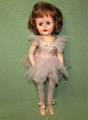 "Vintage 18"" BALLERINA FASHION DOLL 1950s JOINTED KNEES Ankles Costume Slippers +"