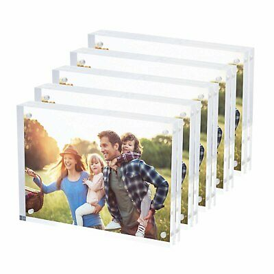 """5 Pack Clear Acrylic Photo Frame 5"""" x 7"""" Ultra Thick Free Standing Magnetic Lock"""