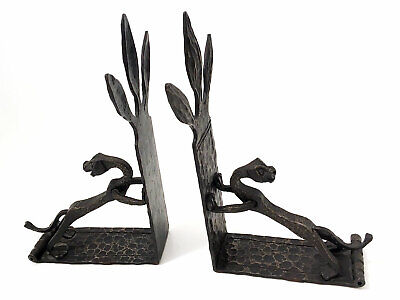 Antique Arts & Crafts Hand Forged Wrought Iron Gothic Dragon Griffin Bookends