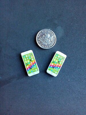 Dolls House Miniature 1/12th Scale mobile Phones x2