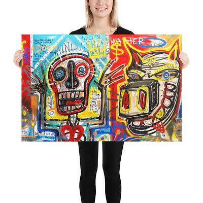 NEO Street Art Graffiti Face Print Urban Abstract Modern Poster Basquiat Style