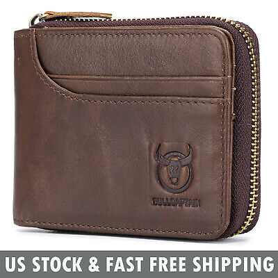 Vintage Genuine Leather Men's Bifold Wallet RFID Card Holder Zip Around Purse
