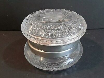 Antique AMERICAN BRILLIANT PERIOD ABP Cut Glass Powder Jar Box Large & Heavy 5""