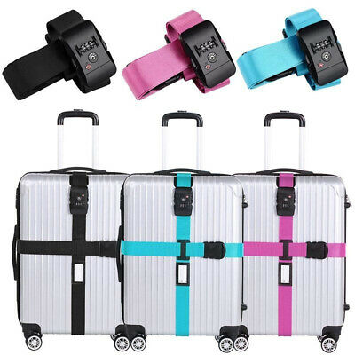 2X(Luggage Belt Luggage Strap TSA Cross Luggage Belt with Combination Lock S6G3)
