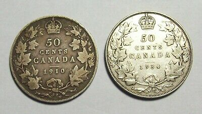 Lot Of 2 Canada Canadian Silver  Fifty 50 Cents--1910 & 1934--Good Pics