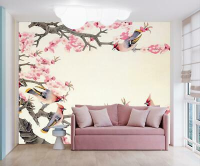 3d Tree Branches With White Flowers Painting Self Adhesive Wallpaper
