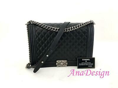 947f7b0d70a4 LARGE BLACK CHANEL Lambskin Camera Bag Chevron Quilted Double Gold ...