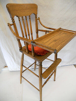 Antique Oak Childs High Chair Tray Victorian Baby Doll Seat Vintage Stroller