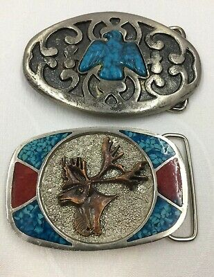 Lot x2 Vintage Eagle & Moose Belt Buckle