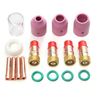 17 Pcs Welding Torch Gas Lens Glass Cup Kit for Tig WP-17/18/26 Series .040 ""