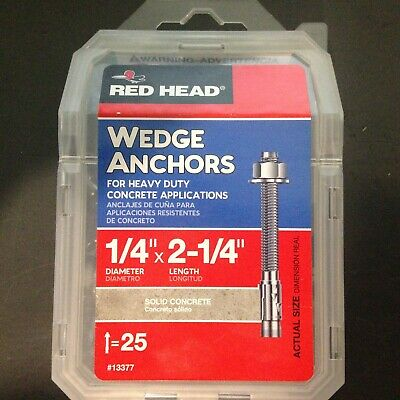 "Red Head® 1/4"" X 2 1/4"" Wedge Anchors, Heavy Duty Concrete Applications 25 Pack"