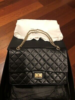 11d917740d31f0 CHANEL BLACK 2.55 Reissue Quilted Classic Gold Leather 227 Jumbo ...